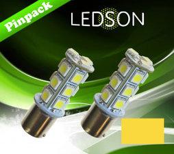 LED-LAMP GEEL/ORANJE 360 P21W 18SMD BA15s