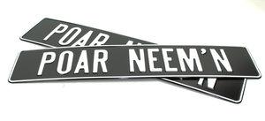 POAR NEEM'N - KENTEKENPLAAT - ZWART MET WITTE OPDRUK